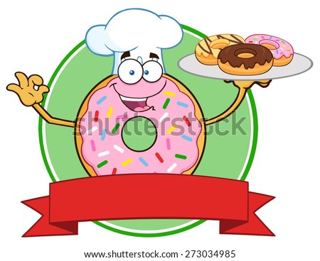 Chef Pink Donut Cartoon Character Serving Donuts Circle Label. Raster Illustration Isolated On White - stock photo