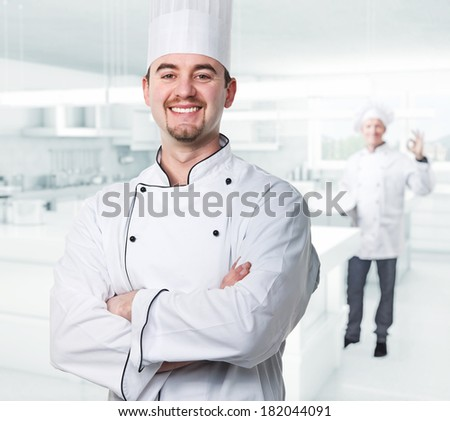 chef portrait and kitchen background