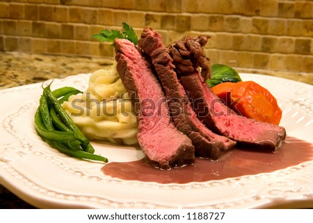 Chef prepared and plated Sirloin dinner
