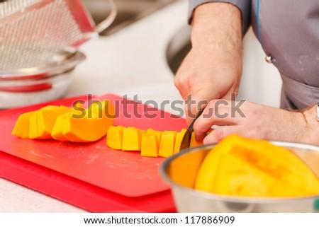 Chef preparing food - stock photo