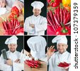 Chef preparing food, collage - stock photo
