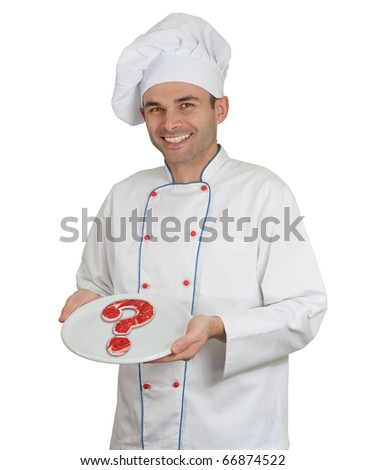 Chef presenting a plate with a raw beef steak in the shape of a question mark - stock photo