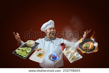 Chef presenting new menu - stock photo