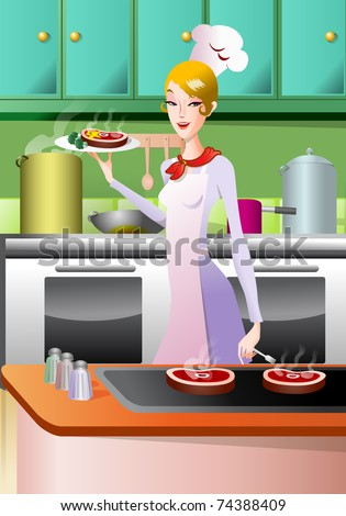 chef queen holding  a plate of grilled meat for meal; concept of a meal