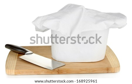 Chef's hat with knife isolated on white - stock photo