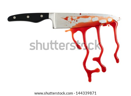 Chef's steel knife with a blood stains isolated over white background