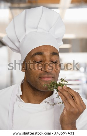Chef savouring aroma of herbs - stock photo
