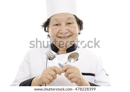 chef senior woman over white background
