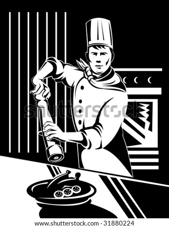 Chef shaking a pepper mill on prepared food - stock photo