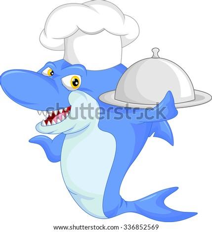 chef shark cartoon - stock photo