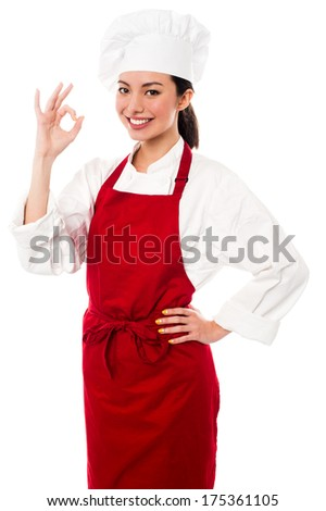 Chef showing fantastic gesture after tasting delicious food - stock photo