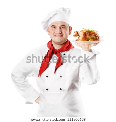 Chef showing  plate with roasted chicken isolated on white - stock photo