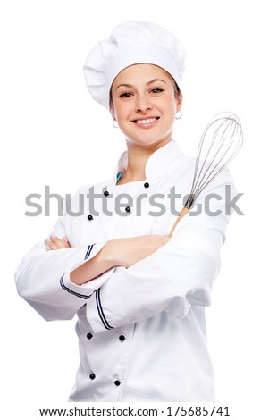 Chef standing with arms crossed on white background - stock photo