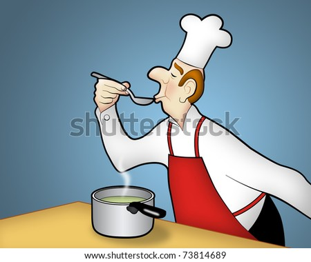 Chef tasting food he's cooking (with space for text). - stock photo