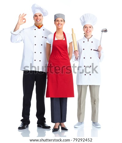 Chef team.  Isolated over white background. Gourmet. - stock photo