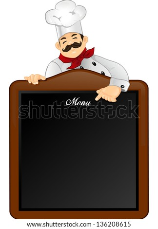 Chef that indicates the menu to be inserted on a blackboard