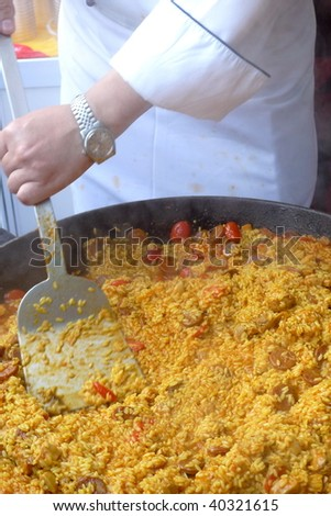 Chef was cooking the fire rice . - stock photo
