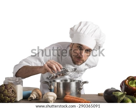 Chef will delight with the food perfume - stock photo