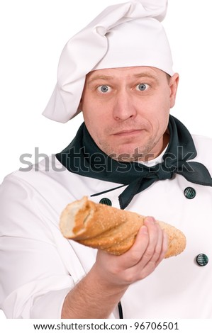 chef with French roll isolated on white background