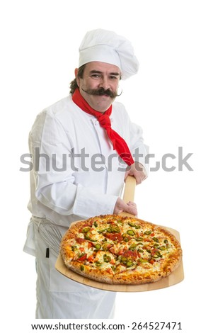 Chef with handlebar mustache holding a pizza on a peel