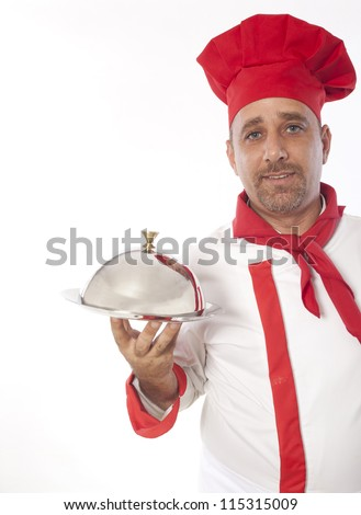 chef with metal cloche lid cover and tray - stock photo