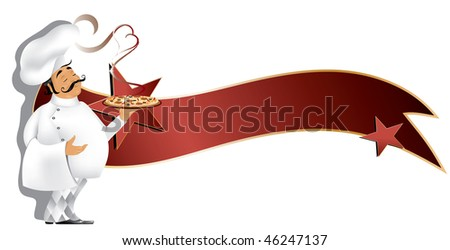 Chef with pizza and banner(in the gallery also available vector of this image) - stock photo