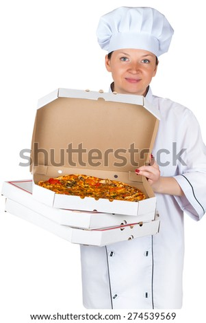 chef with pizza in box on a light background - stock photo