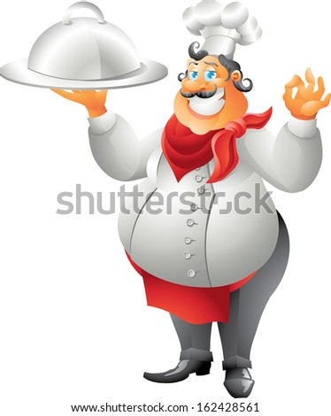 chef with plate isolated - stock photo