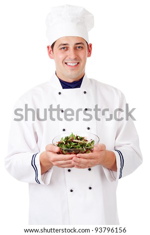 Chef with salad - stock photo
