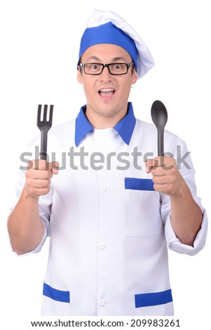 Chef with spoon and fork isolated on white background - stock photo