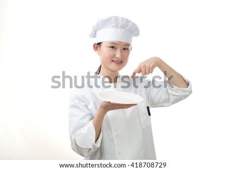 Chef woman. Baker. Isolated on white background.