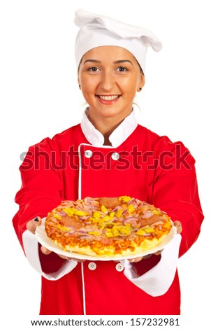 Chef woman giving pizza with ham isolated on white background - stock photo
