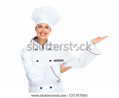 Chef woman. Isolated over white background - stock photo