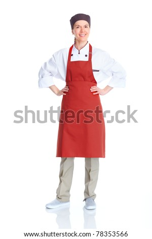 Chef woman.  Isolated over white background. Gourmet. - stock photo