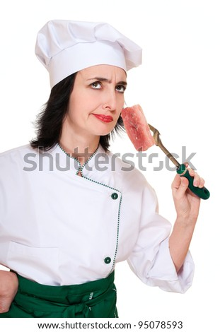 Chef woman smell stale meat chunk isolated on white - stock photo