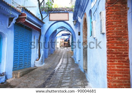Chefchaouan street with blue walls - stock photo