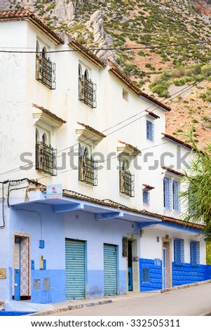 CHEFCHAOUEN, MOROCCO - SEP 10, 2015: Architecture of Chefchaouen. Chefchaouen is situated in the Rif Mountains, just inland from Tangier and Tetouan