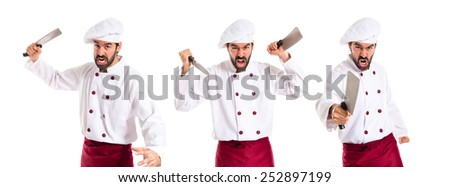 Chefs fighting with knives - stock photo