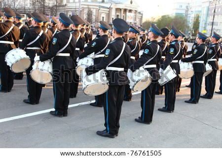 CHELABINSK, RUSSIA - MAY 7: Dress rehearsal of Military Parade on 66th anniversary of Victory in Great Patriotic War on May 7, 2011 on  Lenin Square in Chelabinsk, Russia. - stock photo