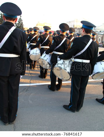 CHELABINSK, RUSSIA - MAY 7: Dress rehearsal of Military Parade on 66th anniversary of Victory in Great Patriotic War on May 7, 2011 at Lenin Square in Chelabinsk, Russia. - stock photo