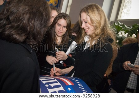 Chelsea Clinton, daughter of U.S. Senator Hillary Clinton (D-NY), campaigns to young voters for her mother at the University of Delaware, February 4, 2008. - stock photo