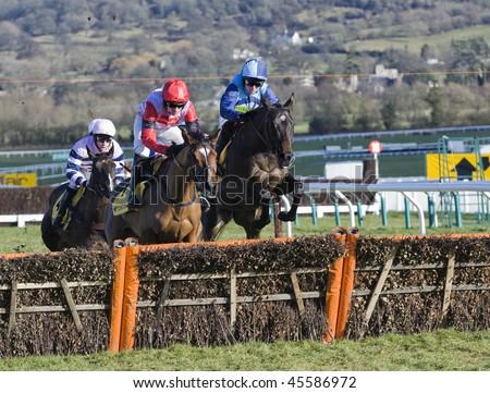 CHELTENHAM, GLOUCS; JAN 30:  Jockey Ruby Walsh (L) and Paul Moloney(R) battle over hurdles in the first race at Cheltenham Racecourse, UK,  January 30, 2010 in Cheltenham, Gloucestershire - stock photo
