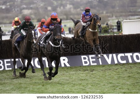 CHELTENHAM, GLOUCS-JANUARY 26: Jockey Barry Geraghty leads Sprinter Sacre over jumps in the fourth race at Festival Trials Day, Cheltenham Racecourse, Cheltenham UK on Jan 26, 2013. - stock photo