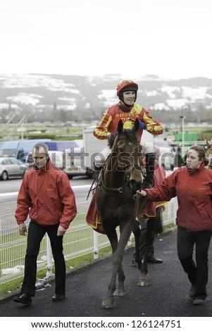 CHELTENHAM, GLOUCS-JANUARY 26: Jockey Tom Scudamore returns with Shoegazer after the third race at Festival Trials Day, Cheltenham Racecourse, Cheltenham UK on Jan 26, 2013. - stock photo