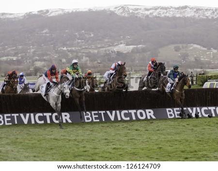 CHELTENHAM, GLOUCS-JANUARY 26:Jockeys take their horses over jumps in the third race at Festival Trials Day, Cheltenham Racecourse, Cheltenham UK on Jan 26, 2013. - stock photo