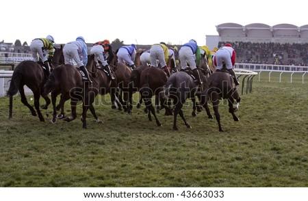 CHELTENHAM, GLOUCS: Jockeys take the hilll in the fourth race at Cheltenham Racecourse January 1, 2010 in Cheltenham, Gloucestershire - stock photo