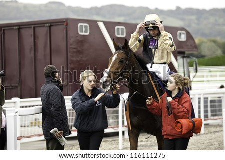 CHELTENHAM, GLOUCS, OCT 19 2012, Jockey Ruby Walsh returns from the first race at Cheltenham Racecourse, Cheltenham UK Oct 19 2012 - stock photo