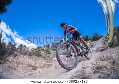 Chelva, SPAIN - MARCH 6: Cesar Antonio Belenguer during Spanish Open BTT XCO on March 6, 2016 in Chelva, Spain