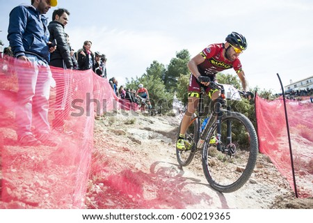 Chelva, SPAIN - MARCH 5: Mario Sinues during Spanish Open BTT XCO on March 5, 2017 in Chelva, Spain