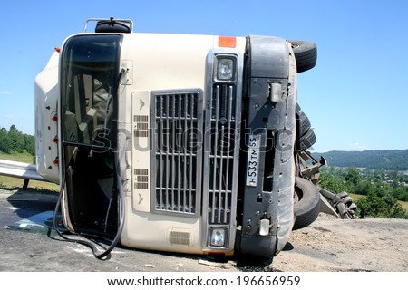 CHELYABINSK REGION, RUSSIA - JULY 19, 2008: Hard truck crash at the freeway. - stock photo